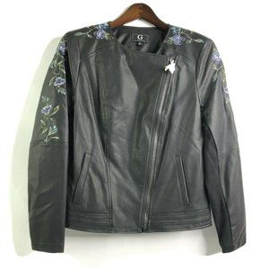 G By Giuliana Embroidered Faux Leather Moto Jacket